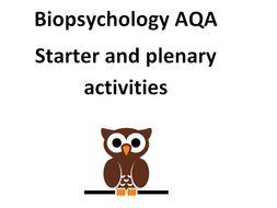 AQA Biopsychology starter and plenary activities