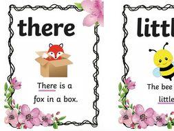 Set 2 keyword/tricky word flashcards with sentences