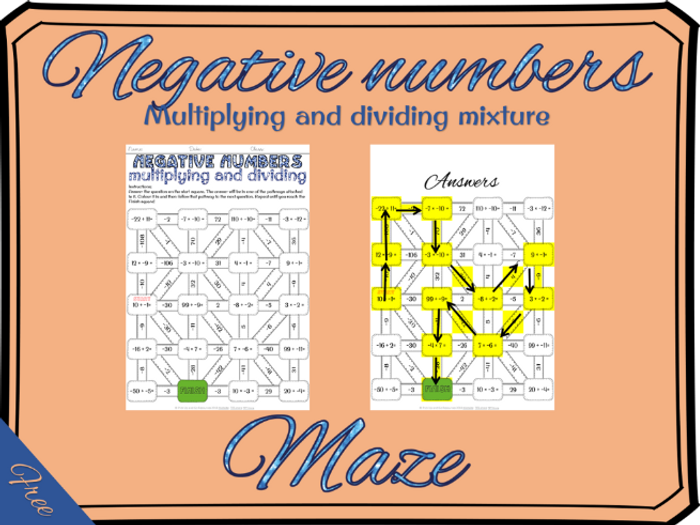 photo relating to Vale Design Free Printable Maze referred to as Detrimental quantities: multiplying and dividing unfavorable figures maze