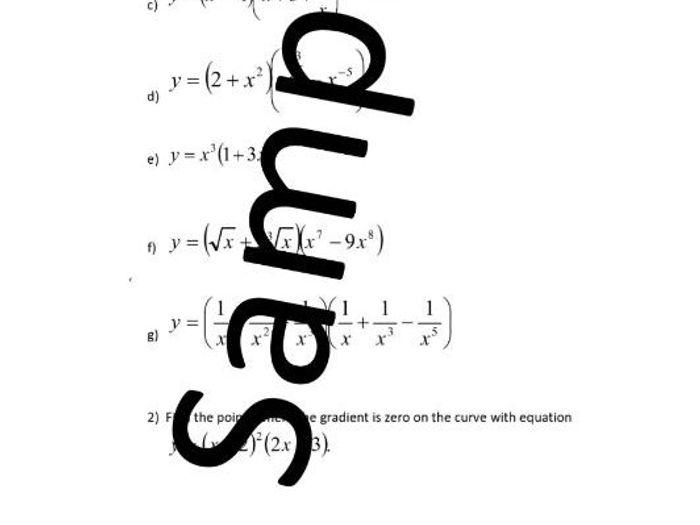 Differentiation \u2013 The Product Rule \u2013 worksheet