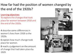 Edexcel iGCSE How far had the position of women changed by the end of the 1920s?