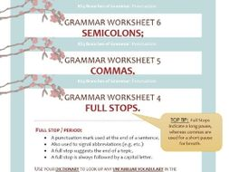 punctuation worksheet pack full stops commas and semi colons by jigglemama teaching resources. Black Bedroom Furniture Sets. Home Design Ideas