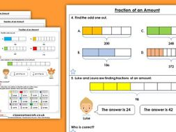 Year 6 Fractions of an Amount Autumn Block 3 Maths Homework Extension