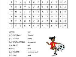 French sports and leisure wordsearch