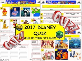 2017 - The Walt Disney Mega Quiz  (What Disney Films) - 7 rounds and 62+Qs' .Book Day Quiz. End of t