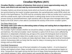 Circadian Rhythms Revision (A2 Psychology)