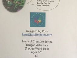 Dragon and Den Activity Sheets