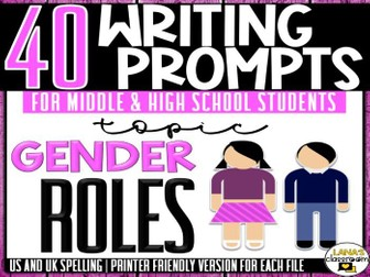 Daily Writing Prompts   Gender Roles   Middle and High School