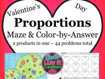 Valentine's Day Math Proportions Bundle - Valentine's Day Activity