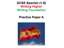 spanish gcse 9 1 writing practice paper aqa higher and foundation