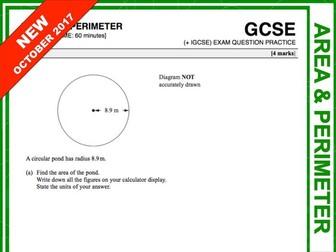 GCSE 9-1 Exam Question Practice (Area and Perimeter)