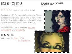 SFX MU Special Effects Make-up | Introduction to basic products - PP Powerpoint with teachers notes