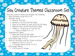 Classroom Display Set - Sea Life Theme