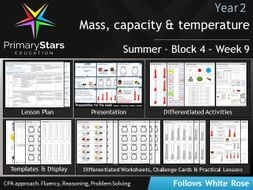 YEAR 2 - Mass , capacity , temperature - White Rose - WEEK 9 - Block 4 - Summer- Differentiated Pack