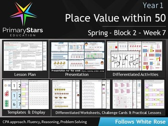 YEAR 1 - Place Value (within 50) - White Rose - WEEK 7 - Block 2 - Spring- Differentiated Pack