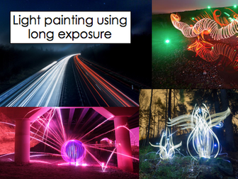 Light painting using long exposure