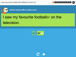 I can use nouns made with suffixes (-er and -or) - Interactive Activity - Year 2 Spag