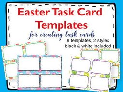 Task Card Templates Clipart Easter Task Card Templates By - Task card template