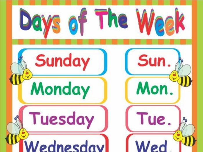 days of the week poster by ruthem teaching resources tes rh tes com funny days of the week clip art days of the week chart clipart
