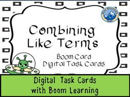 Combine Like Terms Digital Task Cards--Boom Cards