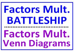 Factors and Multiples Battleship PLUS Factors Multiples with Venn Diagrams