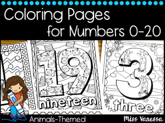 Animal-Themed Numbers 0-20 Coloring Pages