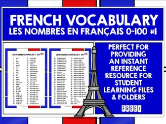 FRENCH NUMBERS 0-100 REFERENCE MAT #1