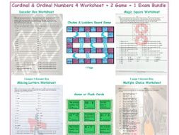 Cardinal & Ordinal Numbers 4 Worksheet-2 Game-1 Exam Bundle