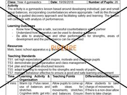 KS2/Lower KS3 Gymnastics Balances Lesson Plan