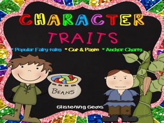 Fairy Tale Character Trait Activities - No Prep Cut and Paste Worksheets