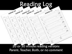 Reading Log Weekly Homework