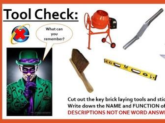 Practical Skills Brickwork.  Vocational WJEC/ BTEC