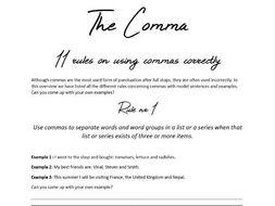 Comma Rules KS3+KS4 with model sentences