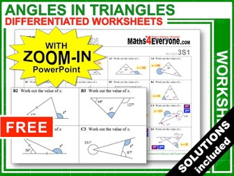Angles in Triangles (Worksheets with Answers)