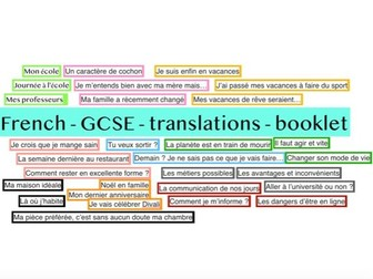 French GCSE translation booklet (30 texts) exam practice / boost writing skills WITH ANSWERS