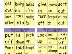 Phrasal Verbs #1 Tic-Tac-Toe or Bingo