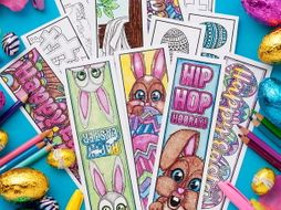 Easter Coloring Bookmarks (Set of 12) |  12 Printable Bookmarks to color and make for Easter