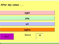 High-frequency words multi-choice quiz