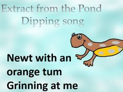 """Pond dipping """"What do I see  """" A song with  percussion   . Video, Mp3s, PPT, notation, follow up."""