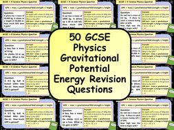 £1 ONLY: 50 GCSE Physics (Science) Gravitational Potential Energy Calculation Revision Questions
