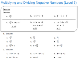 Multiplying and Dividing Negative Numbers (Level 3) by JDStrauss ...