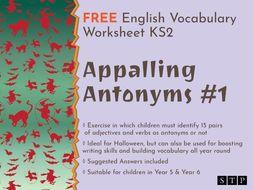 English Worksheet Antonyms Halloween KS2 01