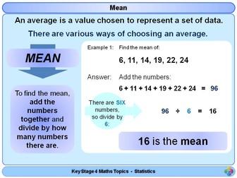 Averages: Mode, Median, Mean -  and Range KS4