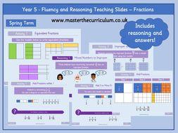 Year 5- Fractions Fluency Teaching Slides- Spring  Block 2- White Rose Style