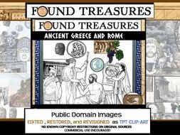 Found Treasures: Ancient Greece & Rome ClipArt-50 Pc! Restored Public Domain.
