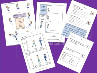 Manga style present continuous ESL complete class