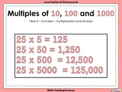 Multiples of 10, 100 and 1000 - Year 5