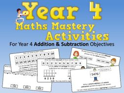 Addition and Subtraction Mastery Activities – Year 4