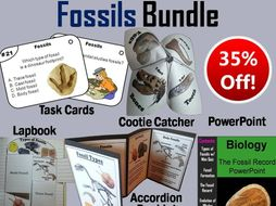 Fossils Task Cards, PowerPoint and Activities Bundle