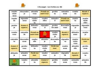 RE Verbs in French Verbes RE Escargot Snail Game